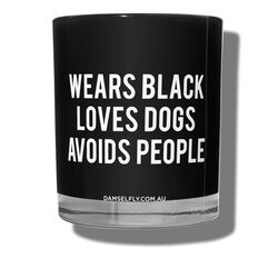 Wears Black Loves Dogs Avoids People Candle, , large