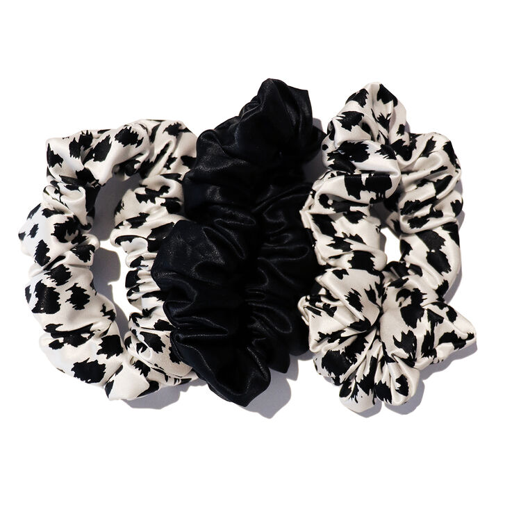 Large Scrunchies, BLACK & WHITE LEOPARD, large