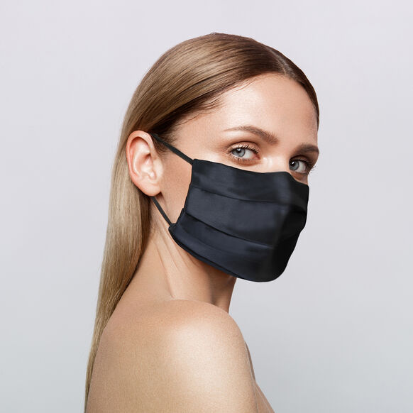Reusable Silk Face Covering, BLACK, large, image2