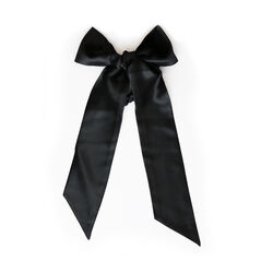 Ribbon Scrunchie, BLACK, large