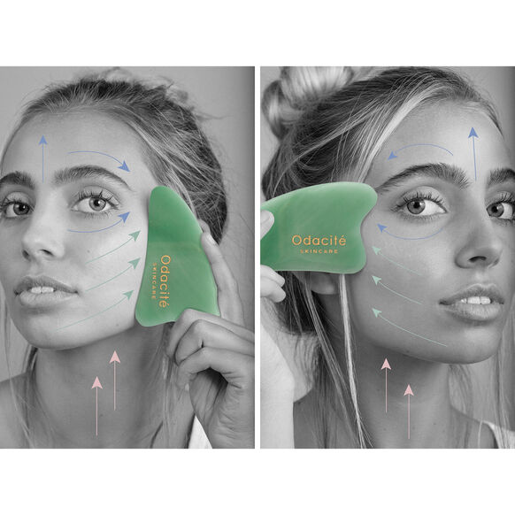 Crystal Contour Gua Sha Green Aventurine Beauty Tool, , large, image3