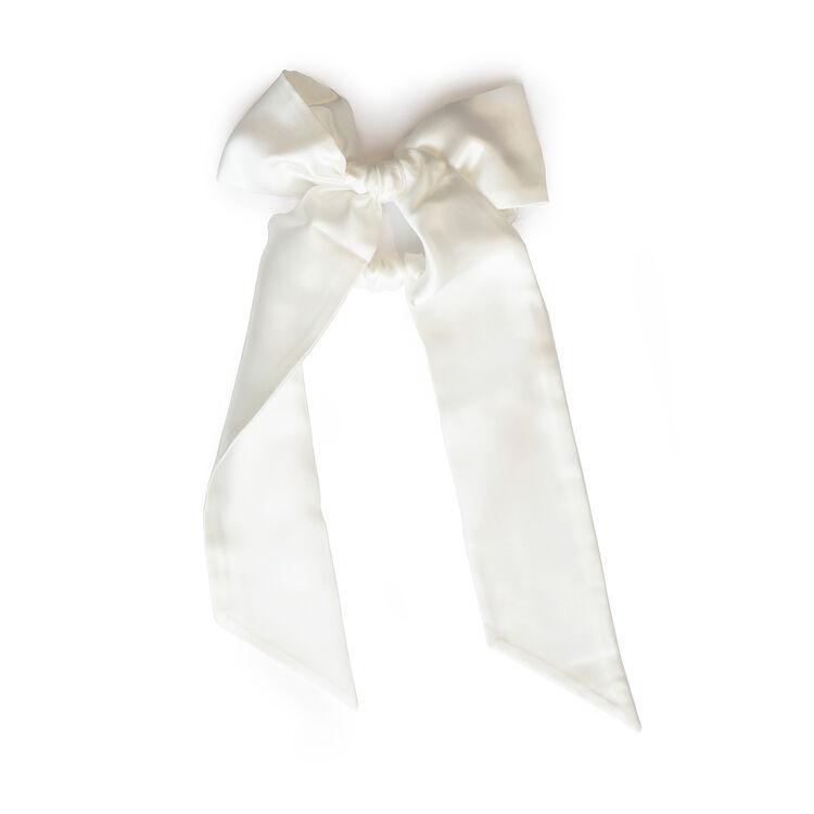 Ribbon Scrunchie, WHITE, large