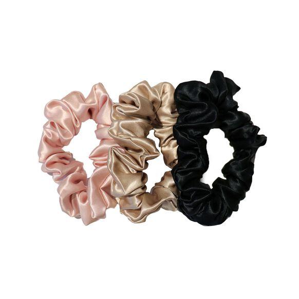 Large Silk Scrunchies, BLACK, PINK, CARAMEL, large, image1