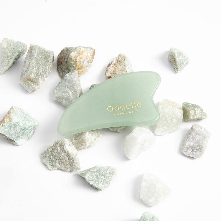 Crystal Contour Gua Sha Green Aventurine Beauty Tool, , large