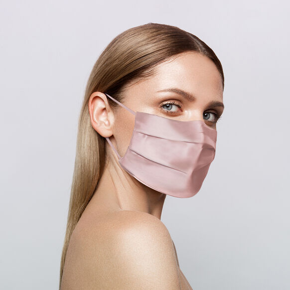 Reusable Silk Face Covering, PINK, large, image2