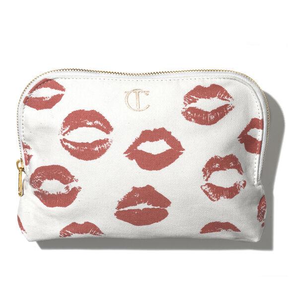 Lip Print Canvas Makeup Bag, , large, image1