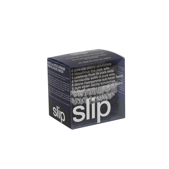 Skinny Silk Scrunchies - 6 pack, BLACK, large