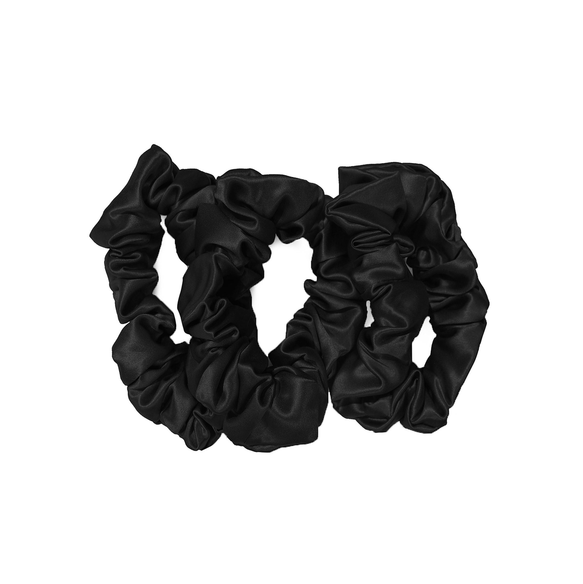 Large Silk Scrunchies, BLACK, large